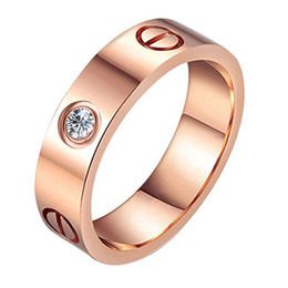 Wholesale Wholesale Couple Wedding Rings - 18K Rose Gold Love Screw Ring With Swarovski Elements Luxury 316L Stainless Steel Screw Midi Ring For Couple Wedding Ring
