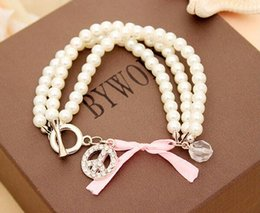 Wholesale Pearl Strands Wedding - Luxury Pearl Beaded Bracelet Crystal Pearl Charm Bracelet Multi Layer Wristband Women Bangle Jewelry For Wedding Gifts