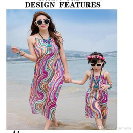 Wholesale Beach Vacation Clothing - Summer Newest Bohemia Floral Long Dress Mother And Daughter Clothes Dresses Beach Vacation Family Matching Outfits Free Shipping