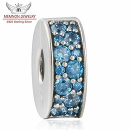 charm clip lock Promo Codes - Memnon Jewery 2016 Summer Shining Elegance Stopper Clip Beads Teal Blue CZ Pave 925-sterling-silver Lock Clip charms Fit Bracelet DIY KT062