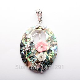 Wholesale Oval Shell Beads - Wholesale- 45X35MM Natural Mother of Pearl Shell Oval Flower Bead Pendant 1PCS