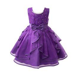 Wholesale Tz Dress - New Bow Flower Girl Dress Party Birthday Wedding Princess Ball Gown Dress Baby Girls Clothes Children Kids Girl Dresses TZ-01