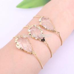 Wholesale druzy bracelets - 5Pcs Gold Color Arrowhead Druzy Clear Quartz Beads charm adjustable chain Macrame bracelet