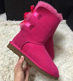 Wholesale Australia Brand Boots - Hot classic Women's winter boots Australia Women Mini Bailey Two Bows Boot outdoor snow boots Yellow Boots size us 5-12 brand