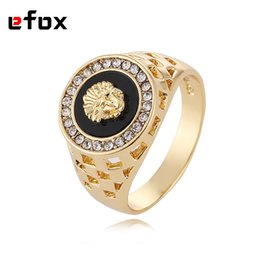 Wholesale Best Gold Rings - Wholesale- Best Selling High Quality Cubic Zirconia Hip Hop Medusa Head Man Ring Gold Color 18 KRGP