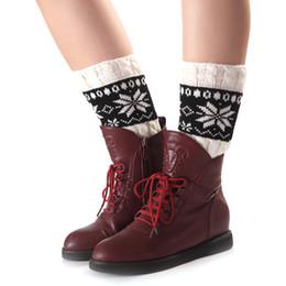 Wholesale Trendy Boots For Women - Wholesale- 2017 Winter New Girls Women Trendy Knitted Leg Warmers Trim Boot Cuffs knee Socks Crochet Printed Knit Leg Warmers For Lady Girl