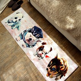 Wholesale Pet X Mat - Fashion cute puppy rugs 40 x 120 cm non-slip long kitchen floor mat lovely pet dog printing bedside rugs