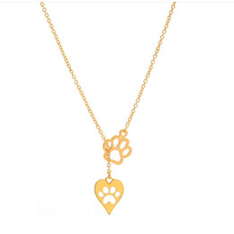 Wholesale Indian Bears - 2017 punk bear paw Electrocardiogram dog footprints chain necklace Cat's paw feet Gold plated Pendant Necklaces statement Jewelry wholesale