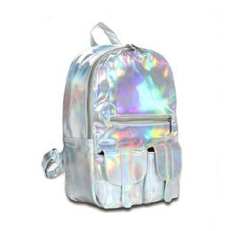 Wholesale Phone Hologram - Wholesale- Hot Feel Hotselling Fashion Hologram Backpack For School Student Women's Laser Silver Color Holographic Bag