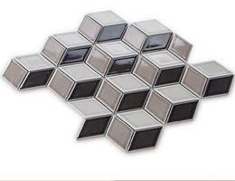 Wholesale Mosaics For Kitchens - 3D Black&Brown glossy porcelain mosaic tiles,Diamond wall ceramic tiles design,High quality porcelain mosaic for bathroom Kitchen, EOM002