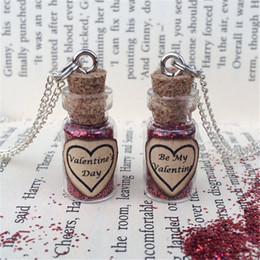 Wholesale Glitter Bottle - 12pcs lot Valentine's Day Red Glitter Bottle Necklace Pendant silver tone jewelry