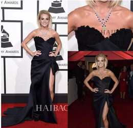 Wholesale Grammy Awards Sexy Prom Dress - Carrie Underwood 58th Grammy Awards Sexy Celebrity prom Dresses 2017 High Side Split Sweetheart with Lace Appliques Formal Evening Gowns