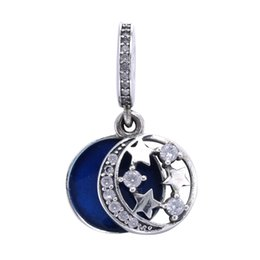 Wholesale Enamel Pendant Jewelry - Authentic 925 Sterling Silver Bead Charm Blue Enamel Night Sky With Crystal Pendant Beads Fit Women Pandora Bracelet Diy Jewelry HK3675