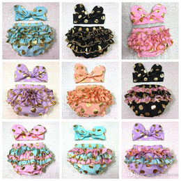 Wholesale Polka Dot Girl Tutu Set - Girls Bloomers Headbands Set Baby Children Gold Polka Dot Hairband Ruffled Kids Shorts Cotton Underwear Girl Boutique Diaper Covers F441