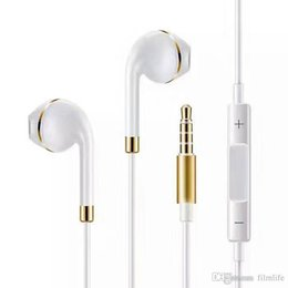 Wholesale New Ear Gold Rings - Upgrade New Apple Phone Earphones with Gold ring In-Ear Earphone 3.5mm Aux