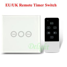 Wholesale Touch Light Switch Timer - Wholesale-EU Standard Touch Screen Time Delay Wall Light Switch 1 Gang 1 Way Waterproof Glass Panel Light Timer Switch With Remote Control