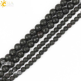 Wholesale CSJA mm Round Ball Matte Black Lava Rock Natural Stone Loose Beads Volcanics Jewelry Material Necklaces Bracelets for Men Women E193 B
