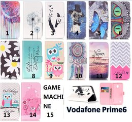 Wholesale Chinese Leather Camera Case - FOR LG V20 REDMI 3S HONOR 5C Vodafone Prime 6 Ultral 6 Owl Flower Game Machine Camera Painted Wallet Stand Leather Case cover 50PCS