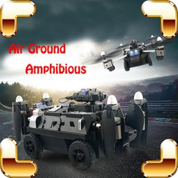 Wholesale Helicopter Diecast Toy - New Arrival Gift 2.4G Air-Ground Amphibious Tank RC Quadcopter Remote Control Helicopter Toys Flying Panzer Camera Wifi Video