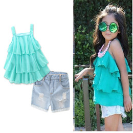 Wholesale Girls Jeans Tank Top - Girls Kids Slip Ruffles Vest Jeans Shorts Outfits For Summer Children Baby Suspender Tanks Tees Tops Jeans Denim Shorts Suits Clothing Sets