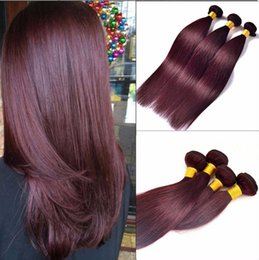 Wholesale Red Straight Weft Remy - 60g 4Pcs lot Brazilian Human Hair Extensions Straight Red Wine Color Hair Weaves Burgundy Cheap Hair Bundles 99J color