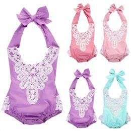 Wholesale Baby Christmas Lace Romper - hot sweet baby girl's rompers Embroidered Lace kids Girls Floral Bodysuit pink blue purple One Piece Romper fashion Sunsuit cute top Clothes