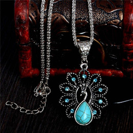 Wholesale White Gold Blue Stone Pendant - Elegant blue turquoise peacock necklaces natural stone austrian crystal pendant necklace vintage bijoux femme