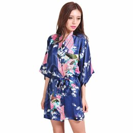b6c3f589fb female silk robes Coupons - Wholesale- Navy Blue Chinese Female Silk Robe  Dress Sexy Mini