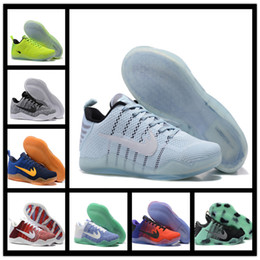 Wholesale Weave Elastic Fabric - 2017 Cheap Sale kobe 11 Elite Men's Basketball Shoes for Top quality Black White XI KB Weaving Sports Training Sneakers Size 7-12