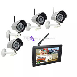 Wholesale Wireless Dvr Security Camera Systems - 7 inch TFT Digital 2.4G Wireless Cameras Audio Video Baby Monitors 4CH Quad DVR Security System With IR Night Light Cameras F1620D