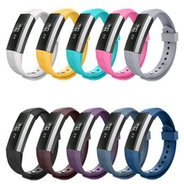 Wholesale Purple Metal Watch - Soft Silicone Fitbit Alta Watch Metal Bands Wristband Bracelet Replacement Accessories with diagonal Adjustable Strap(No tracker).