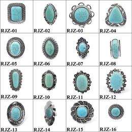 2019 anel de homem de pedra verde 112 estilos Anéis de turquesa do vintage Círculo De Pedra de Prata Verde plantas de Animais Encantos Anel Para as mulheres jóias Pequenos lotes a granel por atacado anel de homem de pedra verde barato