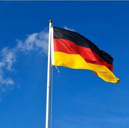 Wholesale Germany National - Germany National Flag German Banner Black Red Yellow Oriflamme Cross Stripe 90*150cm Hanging Flags For Festival Decor OOA1925