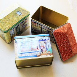 Wholesale vintage tin containers - Wholesale- 3pcs lot Mini House Vintage Metal Tin Box For Candy Jewelery Storage Container Sundries Organizer Gift Packing Decorative Box