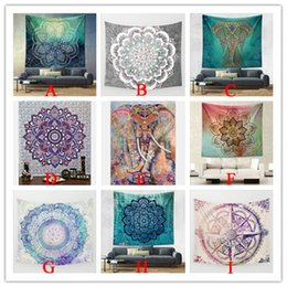 Arazzi d'arte online-Hippy Mandala Tapestry Bohemian Elephant Tapestry Wall Hanging Psichedelico Wall Art Dorm Decor Beach Tiro Indian Wall Arazzi