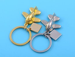 Wholesale Airlines Metal - Brand new Metal cartoon small aircraft model key chain creative airline small gift custom LOGO KR255 Keychains mix order 20 pieces a lot