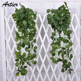Wholesale Lowest Price Christmas Decorations - Wholesale- Artificial Ivy Leaf Garland Plants Vine Fake Foliage Flowers Home Decor 7.5 Feet For Wedding Decoration Low Price AG0326