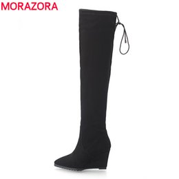 Wholesale Thigh High Boots Red Sale - Wholesale-Hot sale over the knee boots autumn winter shoes wedges high heels women suede boots pointed toe high heels thigh high boots
