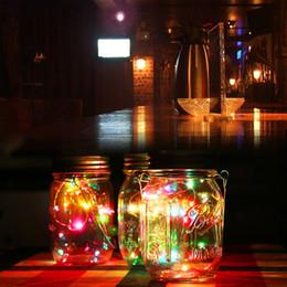 Luci fiabesche di colore online-1Pc Solar Mason Jar Fairy Light con LED che cambiano colore per Glass Mason Jars e Garden Decor Solar Lights