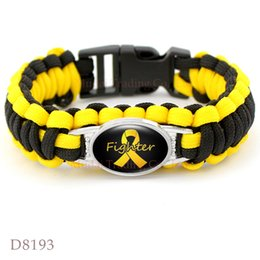 Wholesale Pink Paracord Bracelets - Down Syndrome Survival Pink Breast Cancer Fighter Hope Ribbon Awareness Paracord Bracelets Blue Yellow Black Outdoor Camping