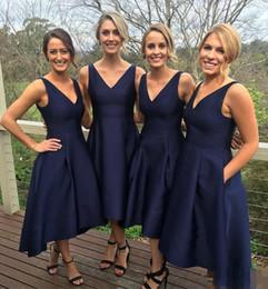 Wholesale Navy Blue Formal Dress Juniors - 2017 New Garden Short High Low Bridesmaid Dresses Pockets Navy Blue Cheap V-Neck Pleats Maid Of Honor Gowns Formal Junior Bridesmaids Dress