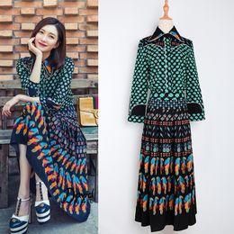 Wholesale women blouses bohemian - 2017 Top Fashion Runway Bohemian Outfit Blouse Pleated Skirt Women Vintage Printed 2 Pieces Set Celebrity Twin Set Plus Size 4XL Outfit