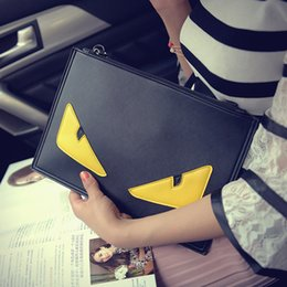 Wholesale Yellow Envelopes - 2017 Eye Monster Envelope Clutch Bag Women PU Leather Messenger Bags Famous Brand Designer Small Shoulder Crossbody Bags bolsos A7030104