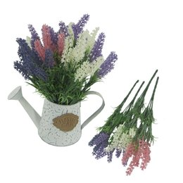 Wholesale Home Decor Silk Flower Arrangements - Artificial Flocked Lavender Bouquet with 4 Colour Flowers Arrangements Bridal Home DIY Table Flowers Garden Office Wedding Decor 125 -1078