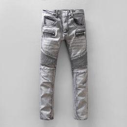 Wholesale Short Pants Denim Men - Men's Ripped Skinny Jeans Fashion Designer Mens Shorts Jeans Slim Motorcycle Moto Biker Causal Mens Denim Pants Hip Hop Men Je