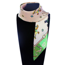 Wholesale Small Cute Scarf - Wholesale-60cm*60cm Women 2016 New Fashion Imitated Silk Korea Cute Cartoon Horse five-pointed star Printed Small Square Scarf Hot Sale