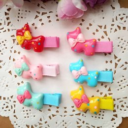 Wholesale Dog Barrettes - 30pcs lot Dot Dog style Hair Bows with Clips Baby Girls Hairpins Barrettes Childrens Hair Accessories Colors mixed