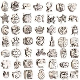 Wholesale Craft Charms For Bracelets - Beads For Jewelry Making Big Hole Loose Spacer Beads Charms DIY Craft Wholesale Cheap Jewelry Making Supplies For Bracelet Charms