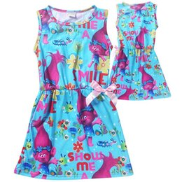 Wholesale Christmas Picks Wholesale - Trolls Kid Printing Dress Sleeveless Beach Dress Pick Size Girls Costum Trolls For Baby Clothing Kids Dress With Cute Bow Trolls Clothes