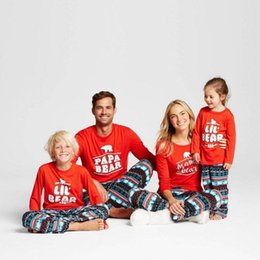 Wholesale Full Happy - Family Christmas Pajamas Family Matching Clothes Mother Daughter Father Son Happy Bear New Year Family Look Sets